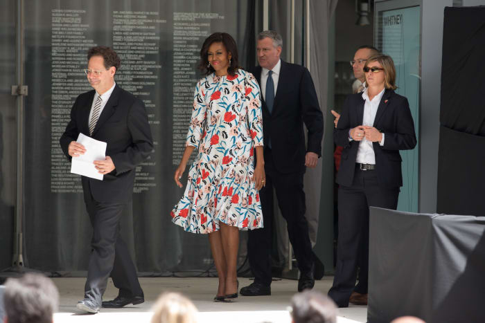 Michelle Obama, wearing Thakoon, to attend the dedication ceremony at the new Whitney Museum of Art in New York in 2015.