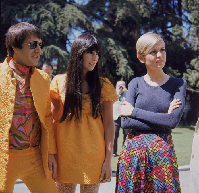 Sonny Bono, Cher and Twiggy in 1967.