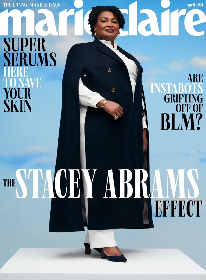 "Stacey Abrams on the April 2021 cover of ""Marie Claire."""