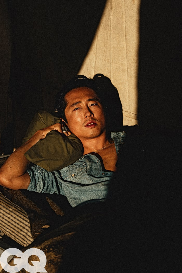 "Steven Yeun on the April 2021 cover of ""GQ."""
