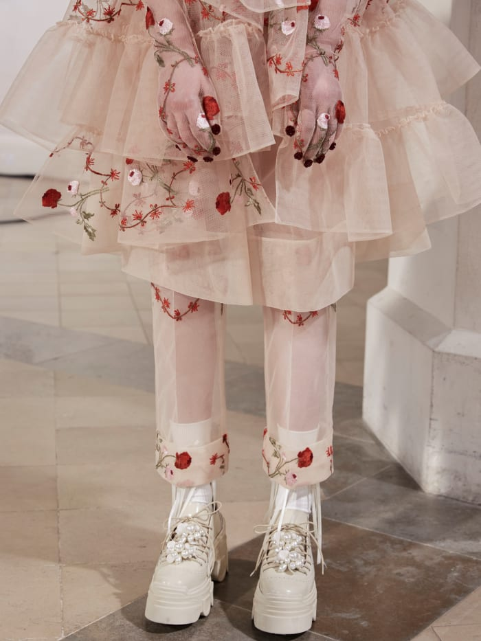 A close-up at the shoes at Simone Rocha's Fall 2021 presentation.