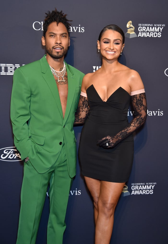 Miguel and Mandi, in Cushnie, at a pre-Grammys event in January 2020.