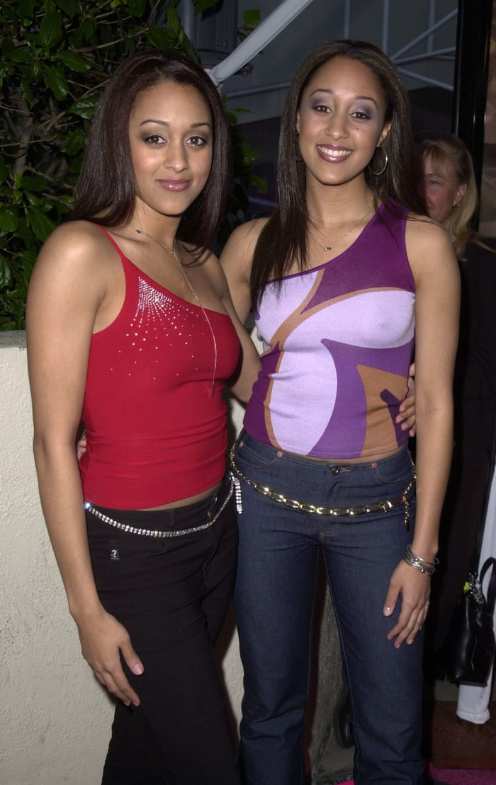 "Tia and Tamera Mowry at the premiere of ""Josie and the Pussycats"" in 2001."