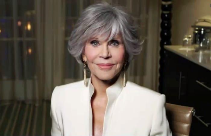 Jane Fonda, winner of Cecil B. deMille Award speaks during the 78th Annual Golden Globe Virtual General Press Room