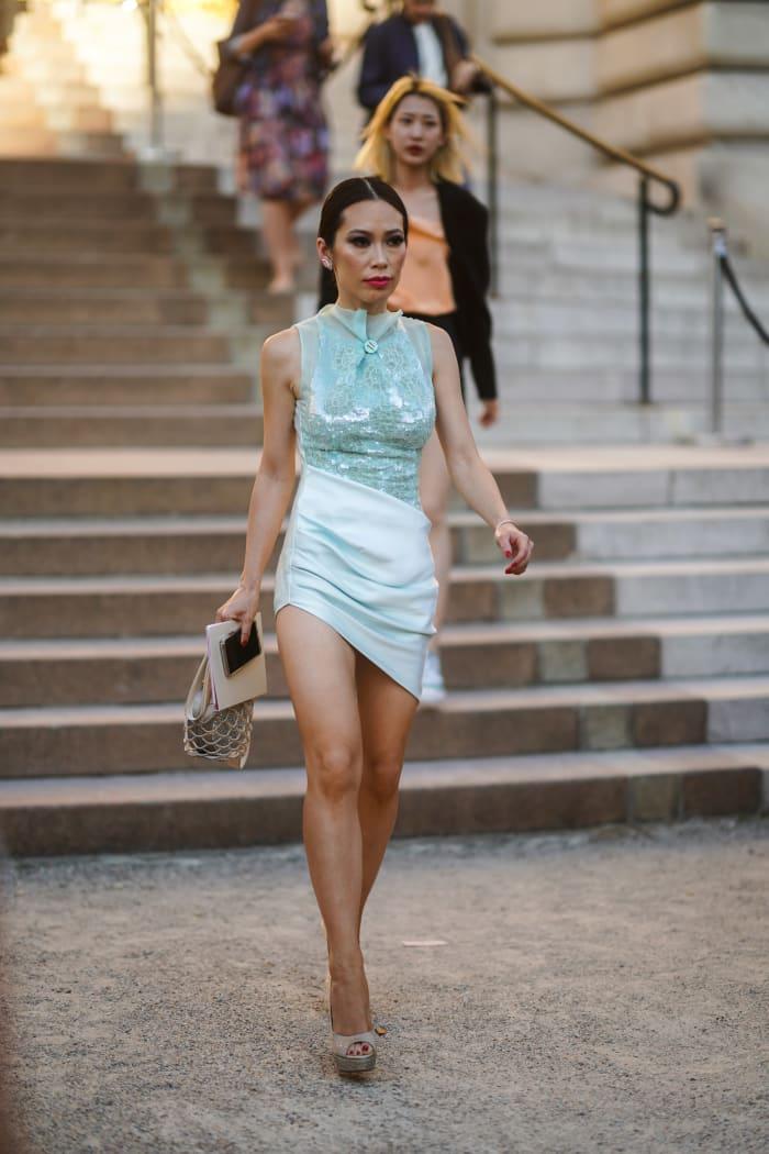 Chiu, wearing Giorgio Armani, at the Fall 2019 haute couture shows in Paris.