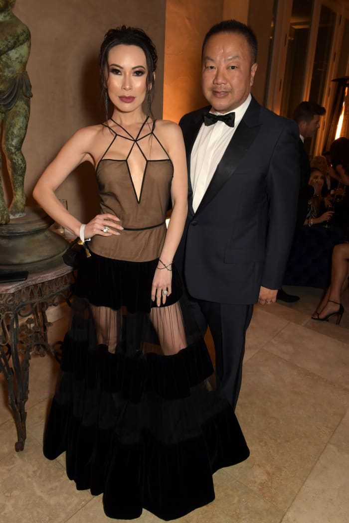 Chiu, with her husband, Dr. Gabriel Chiu, wearing Fendi Haute Couture at the 2020 Hollywood For The Global Ocean Gala honoring HSH Prince Albert II of Monaco.