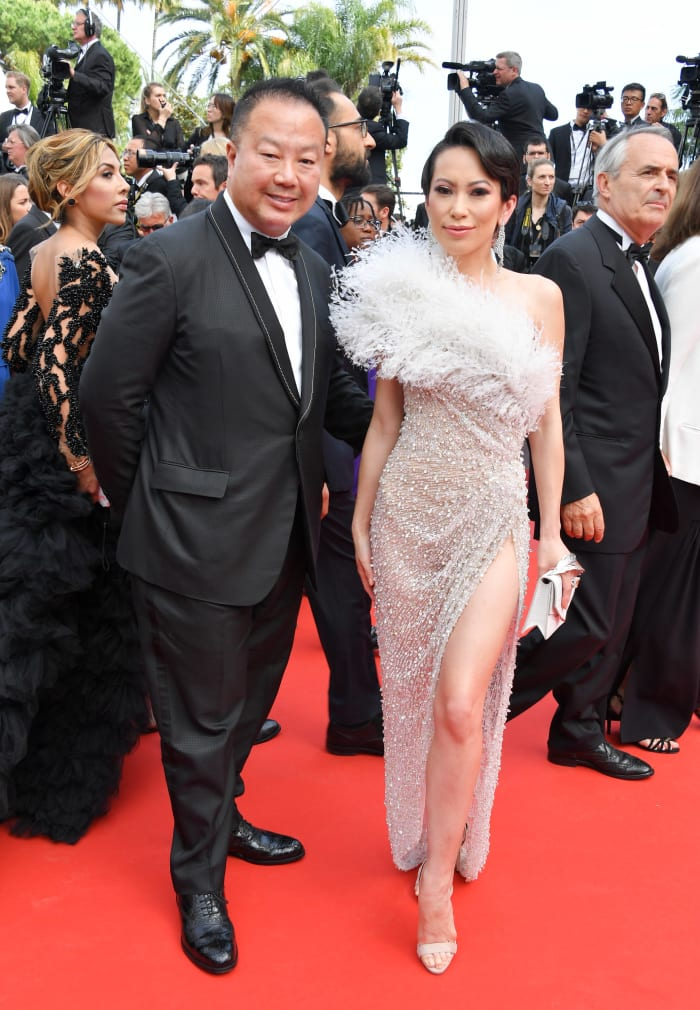 Chiu, with Dr. Chiu, wearing Ralph & Russo at the 2019 Cannes Film Festival.