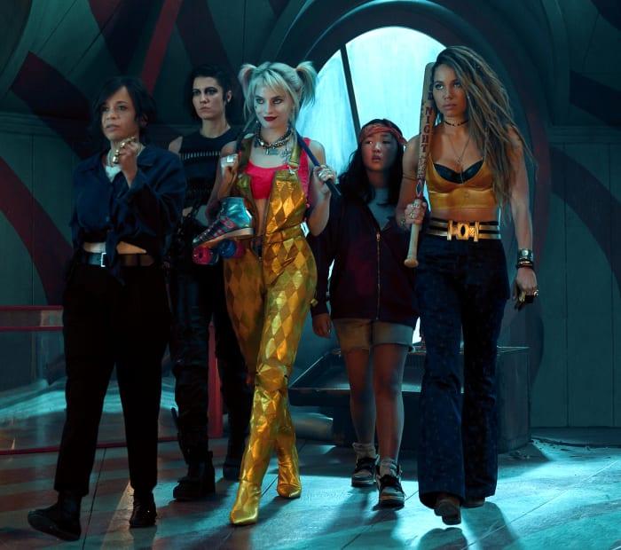 From left to right: Det. Renee Montoya (Rosie Perez), Huntress (Mary Elizabeth Winstead), Harley Quinn (Margot Robbie), Cassandra Cain (Ella Jay Basco) and Black Canary (Jurnee Smollett-Bell).