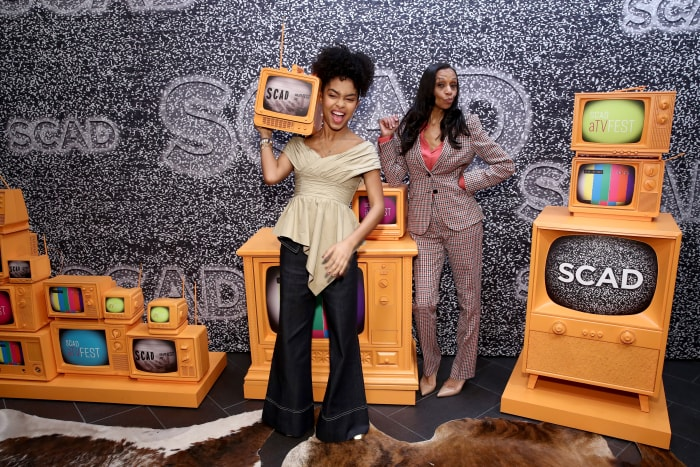 Yara Shahidi and Cole before the 'In Conversation: The Spirit And Style Of 'Grown-ish' With Yara Shahidi And Michelle R. Cole' panel atSCAD aTVfest 2020 in Atlanta.