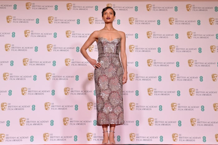 Gugu Mbatha-Raw in Louis Vuitton at the 2021 BAFTA Awards in London, England.