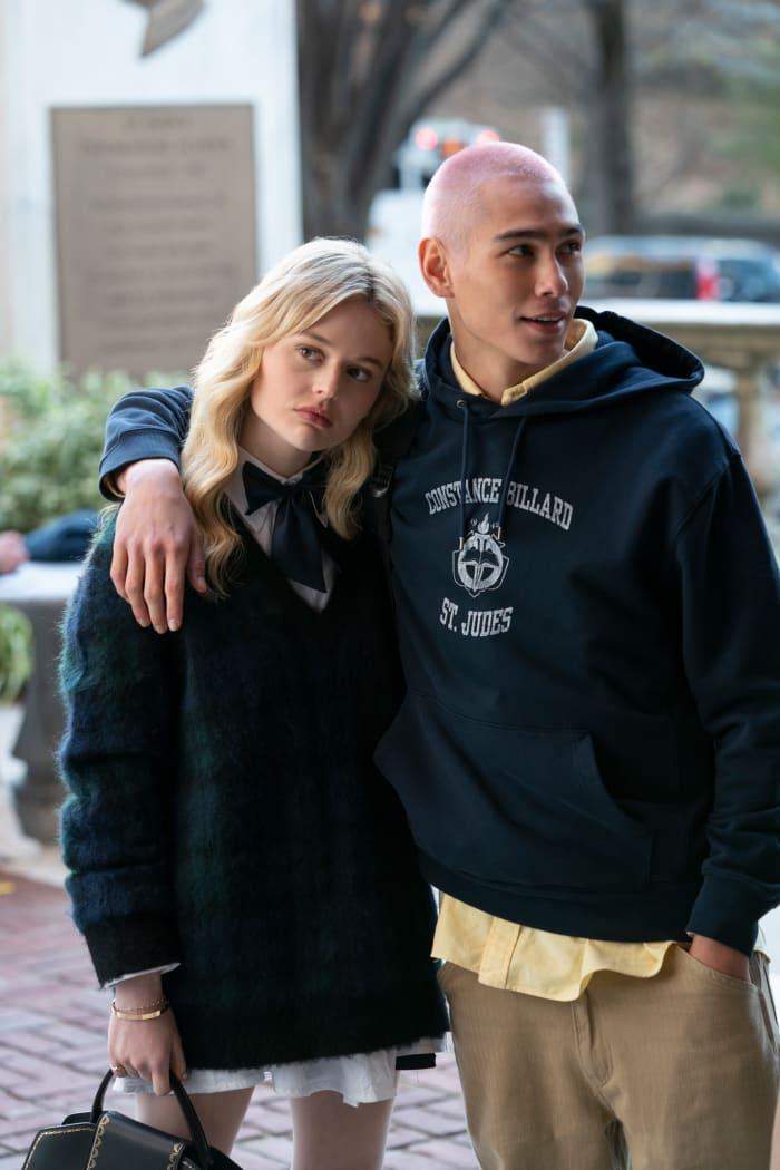 Audrey Hope (Emily Alyn Lind) and Aki Menzies (Evan Mock) in uniform.