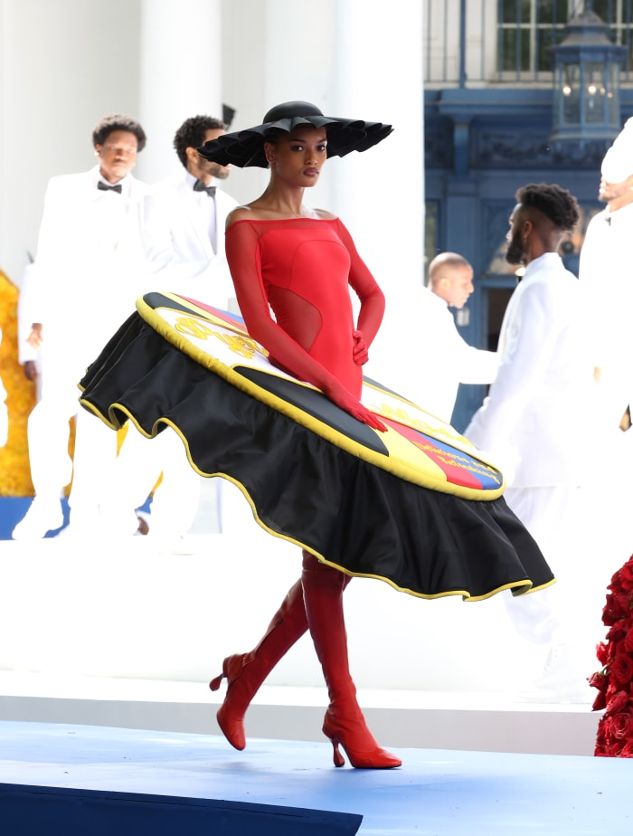 A model walks the runway during the Pyer Moss Couture Haute Couture Fall:Winter 2021:2022 show 3