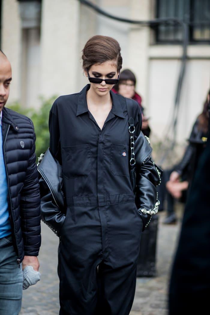 Kaia Gerber in Dickies jumpsuit at Paris Fashion Week.