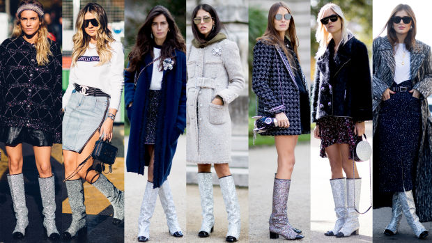 Spring 2017 Beauty Trend Report How To Wear Glitter: Chanel Glitter Boots Stole The Show On The Final Day Of