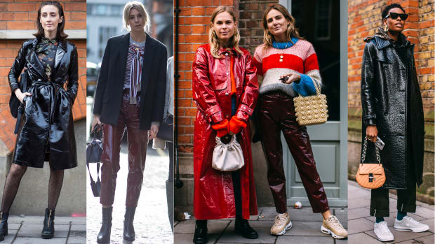 Shiny Leather Pants And Coats Were A Street Style Hit On Day 5 Of London Fashion Week Fashionista