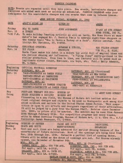 Finley, Ruth.  Calendário da moda, 16 de novembro de 1942, p.1