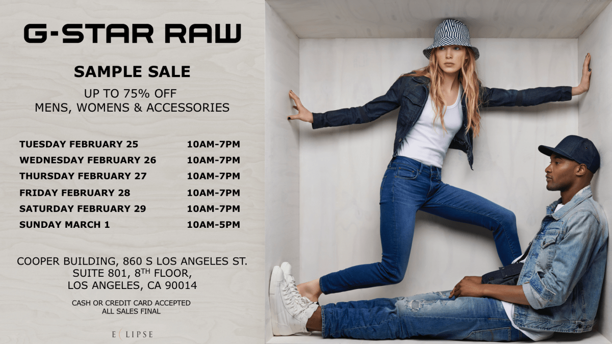 G-Star Raw Sample Sale, 2/25 – 3/1, Los Angeles