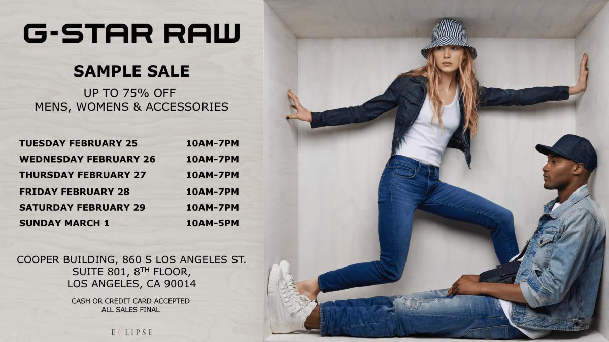 G-Star Raw Sample Sale, 2/25 – 3/1, Los Angeles