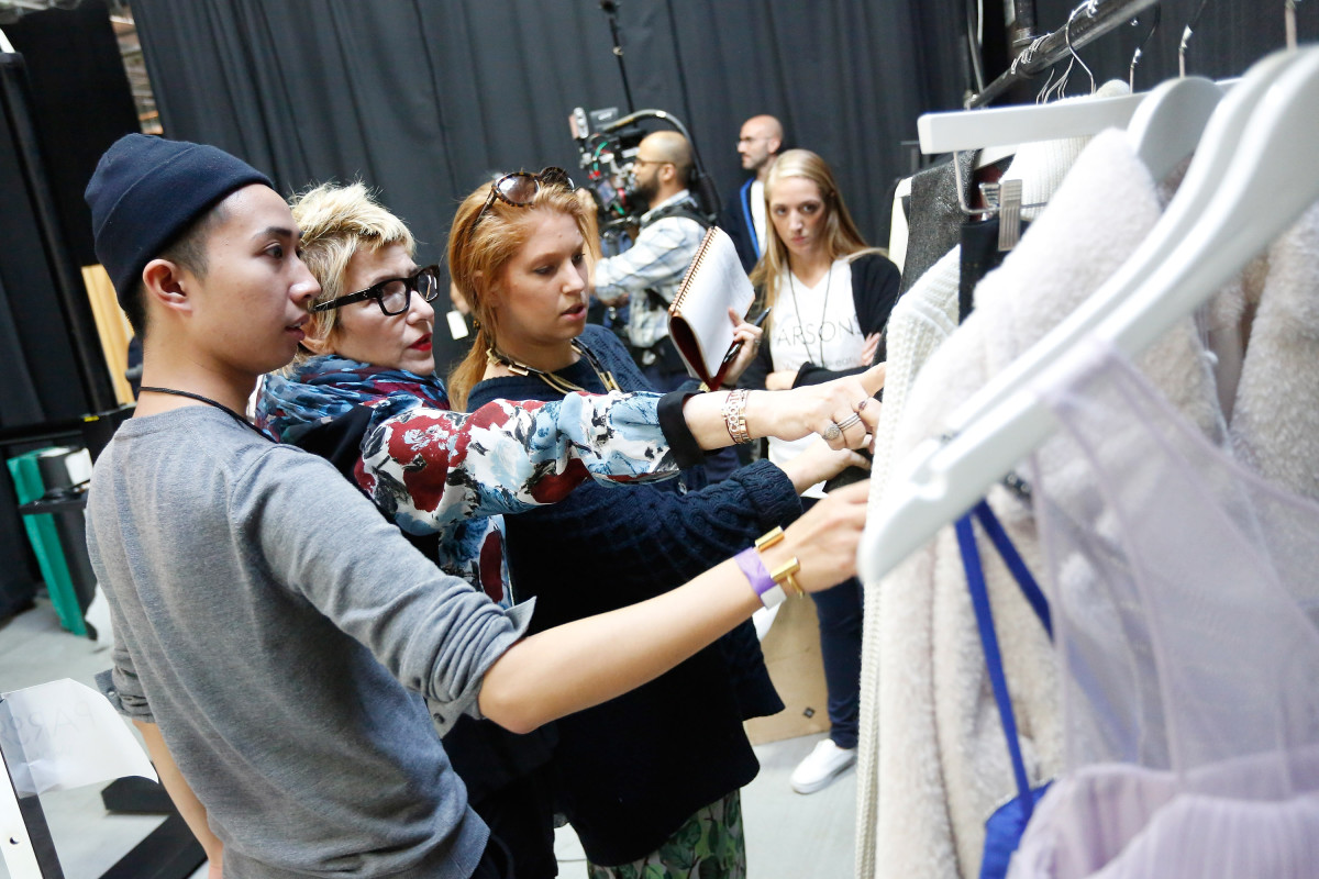 Stylist Lori Goldstein with Parsons fashion students at an Amazon event in October 2014. Photo: Brian Ach for Getty