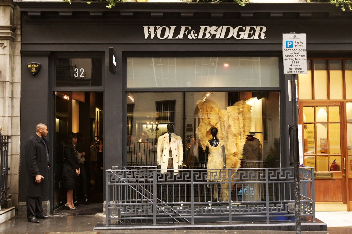 Outside Wolf & Badger's store on Dover Street in London. Photo: Wolf & Badger
