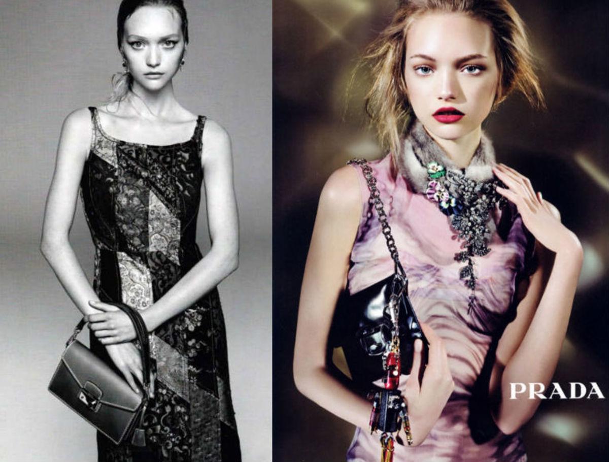 Gemma Ward by Steven Meisel for Prada, in 2014 and 2004. Photos: Prada