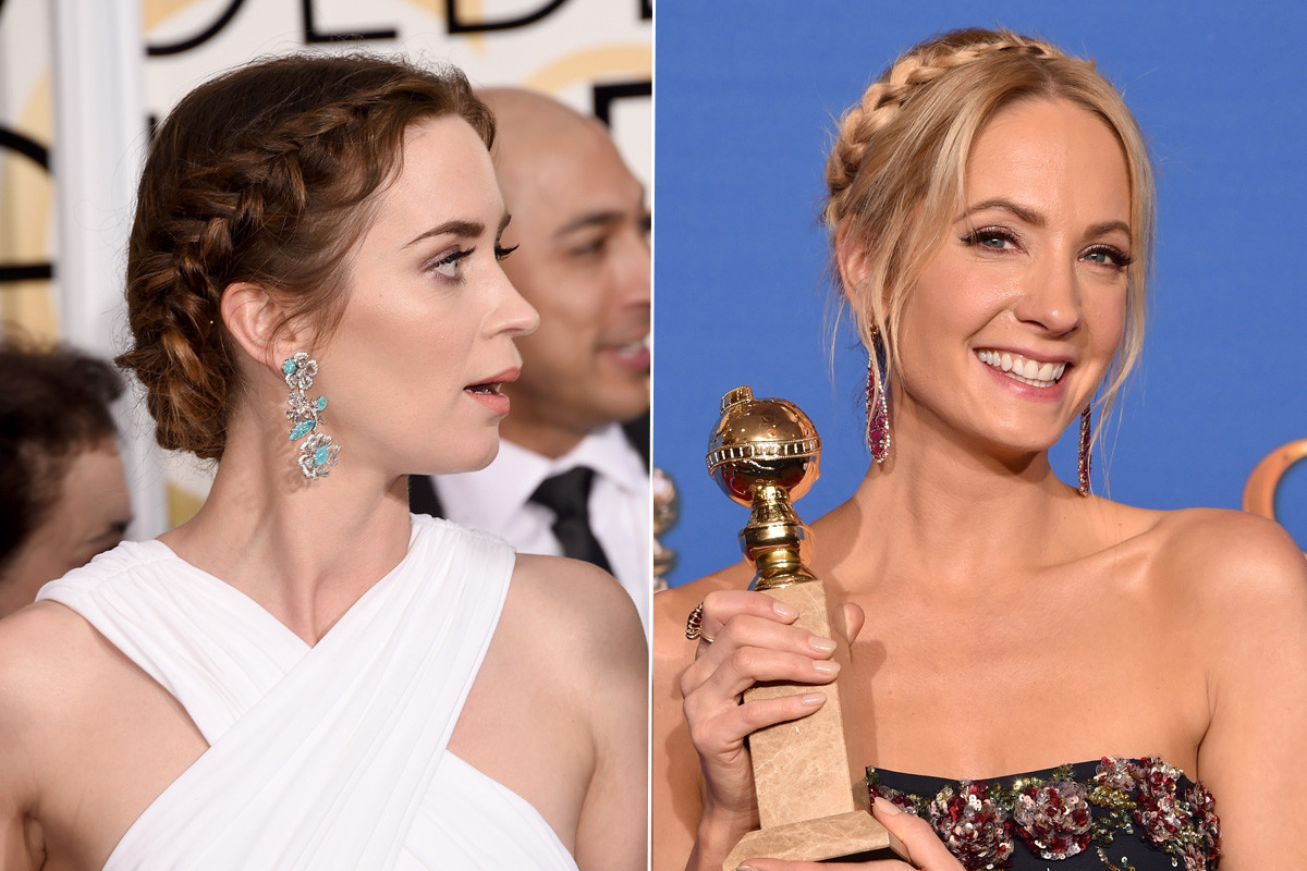 """Wait, Joanne, I thought *I* had the cutest braid tonight!"" Photos: Jason Merritt & Kevin Winter/Getty Images"