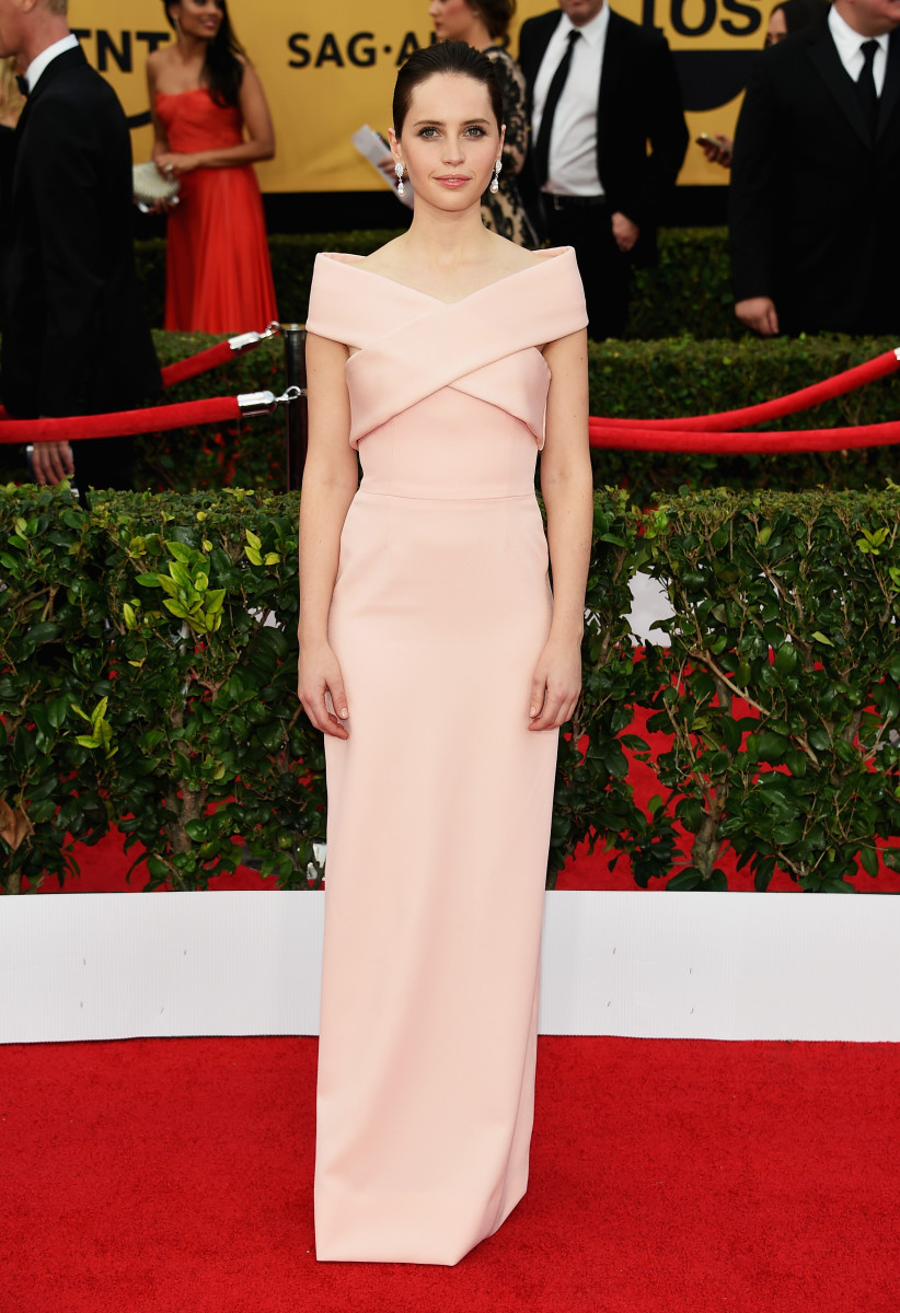 Felicity Jones in Balenciaga. Photo: Ethan Miller/Getty Images