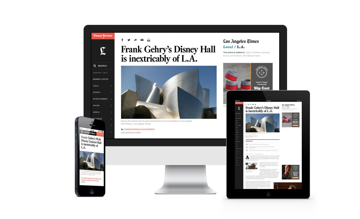 Code and Theory's 'Los Angeles Times' redesign. Image: Code and Theory