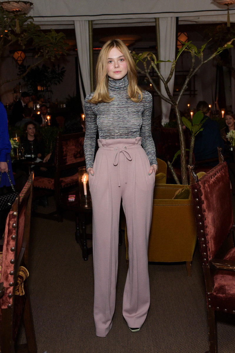 Elle Fanning has legs for days at the Rodarte x Superga Dinner in Los Angeles on Friday. Photo: Stefanie Keenan/WireImage