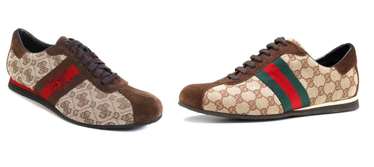 On the left, a sneaker from Guess; on the right, a sneaker from Gucci.
