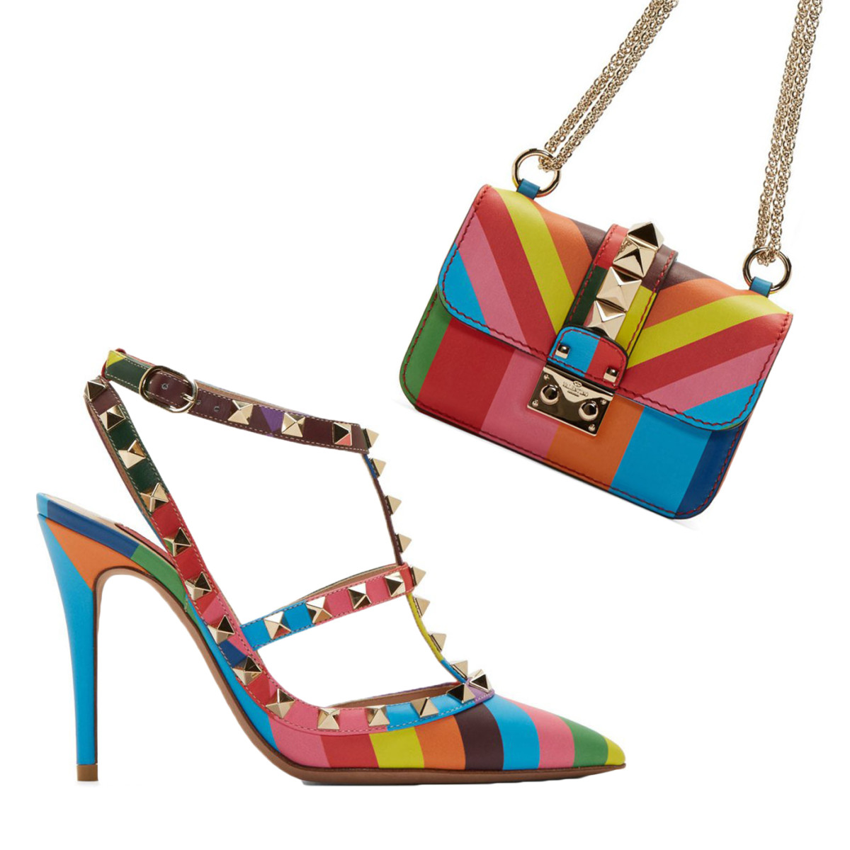 Valentino Rainbow Chevron 1973 Print Rockstud Pumps, $1195, available at SSENSE. Valentino Green & Blue Leather Rockstud Striped Bag, $2195, available at SSENSE.