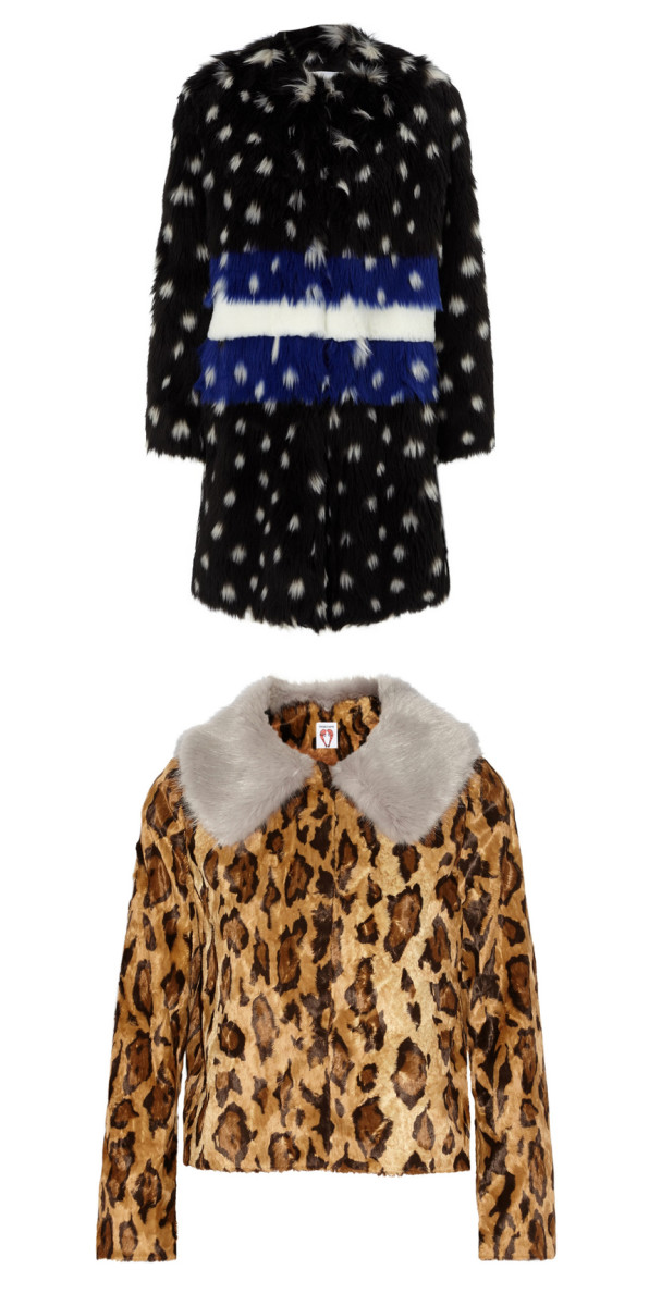 Ainea Multi Spotted Faux Fur Coat, $790, available at Avenue32, and Shrimps Cropped leopard-print faux fur jacket, $630, available at Net-a-Porter.