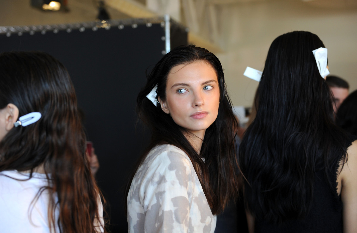 Backstage at the spring 2015 Creatures of Comfort show. Photo: Craig Barritt/Getty Images