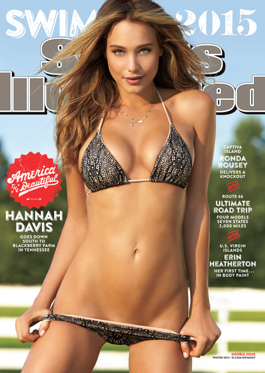 White picket fences are the American dream. Hannah Davis on the cover of Sports Illustrated: Swimsuit Edition 2015. Photo: SI.com
