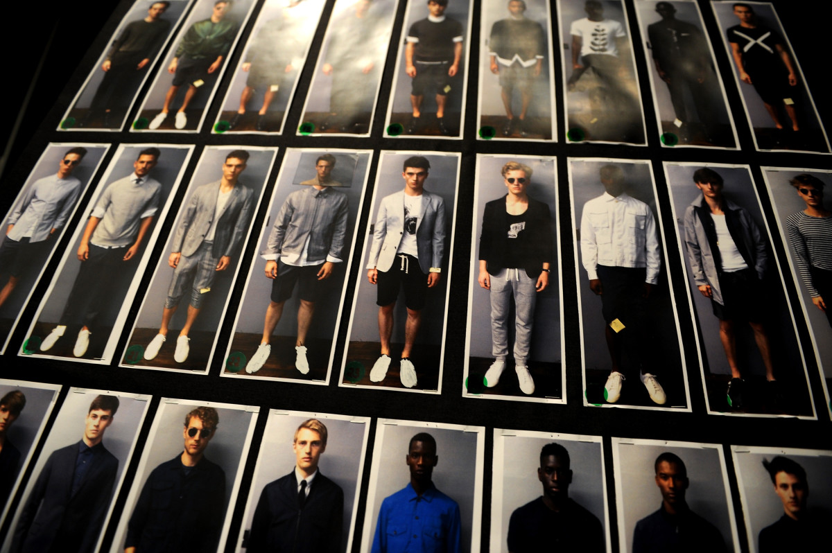 The lineup backstage at Todd Snyder's spring 2015 fashion show. Photo: Bryan Bedder/Getty Images