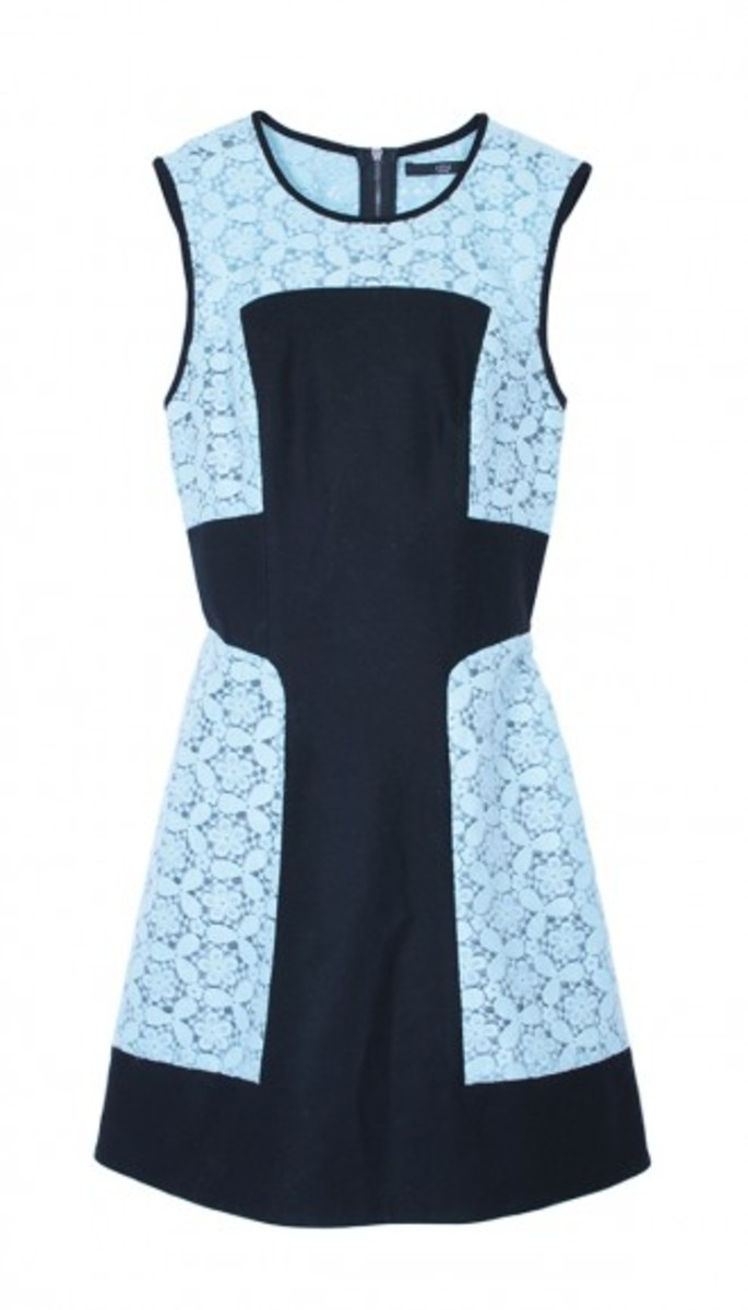 This seasonally transitional dress is final sale at Tibi. Tibi Emboridery lace paneled dress, $417 (from $695), available at Tibi.