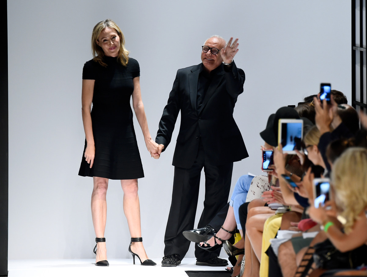 Lubov Azria and Max Azria bow at the Herve Leger By Max Azria spring 2015 show. Photo: Frazer Harrison/Getty Images for Mercedes-Benz