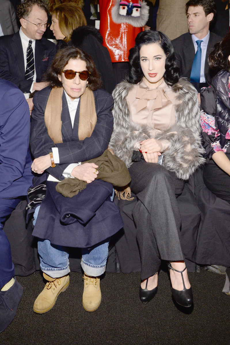 Fran Lebowitz and Dita Von Teese at the Carolina Herrera fall 2014 show. Photo: Andrew H. Walker/Getty Images