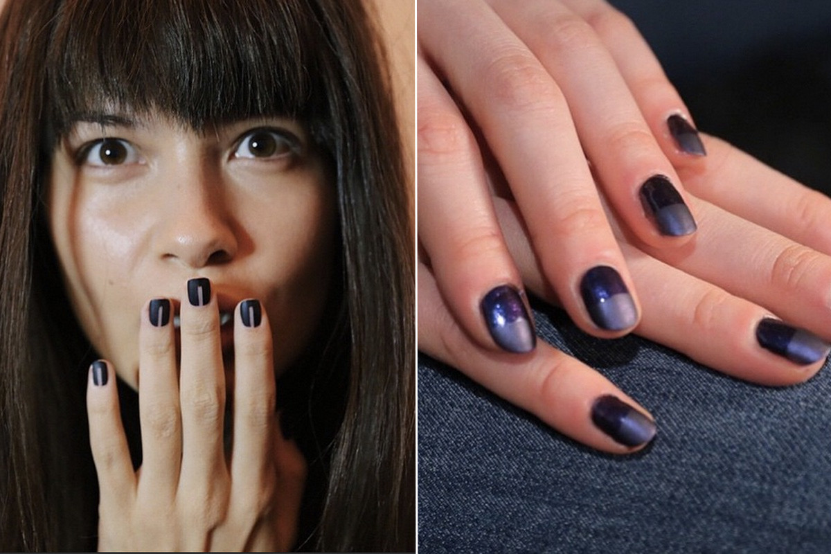 Matte blue metallics at Marissa Webb and Charlotte Ronson. Photos: misspopnails Instagram