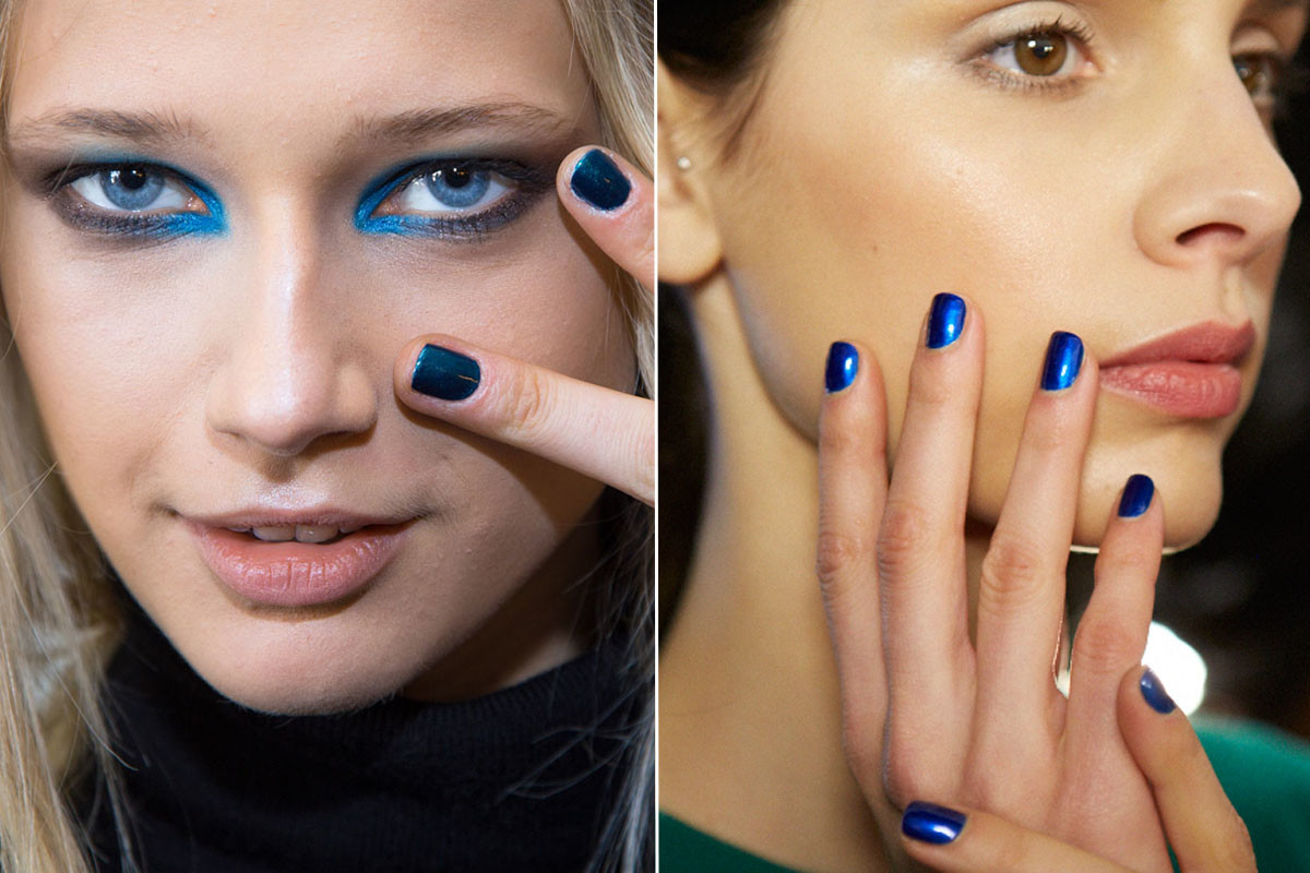 Shiny blue at Karen Walker and Costello Tagliapietra. Photos: Jin Soon & Essie