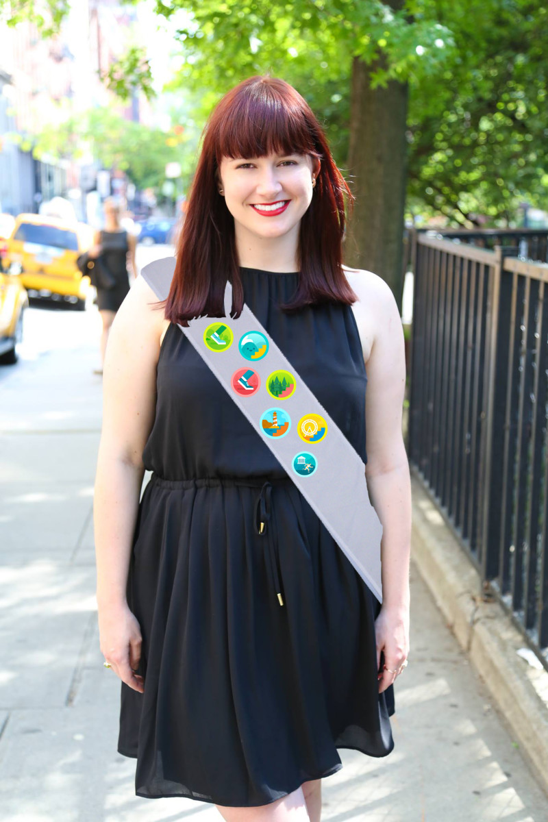 Me with all my Fitbit badges like a proper Girl Scout. Photo: Nina Frazier Hansen/Fashionista, Artwork: Original