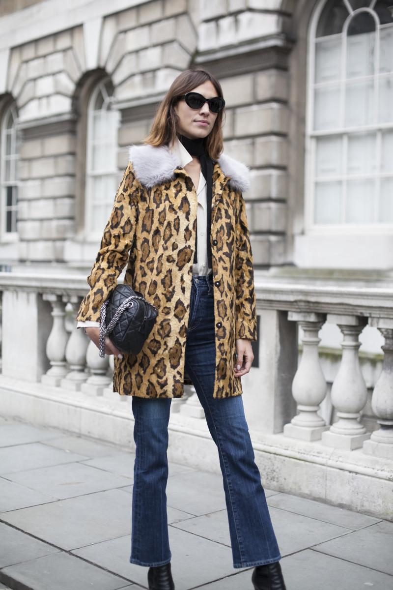 Alexa Chung in a Shrimps coat. Photo: Emily Malan/Fashionista