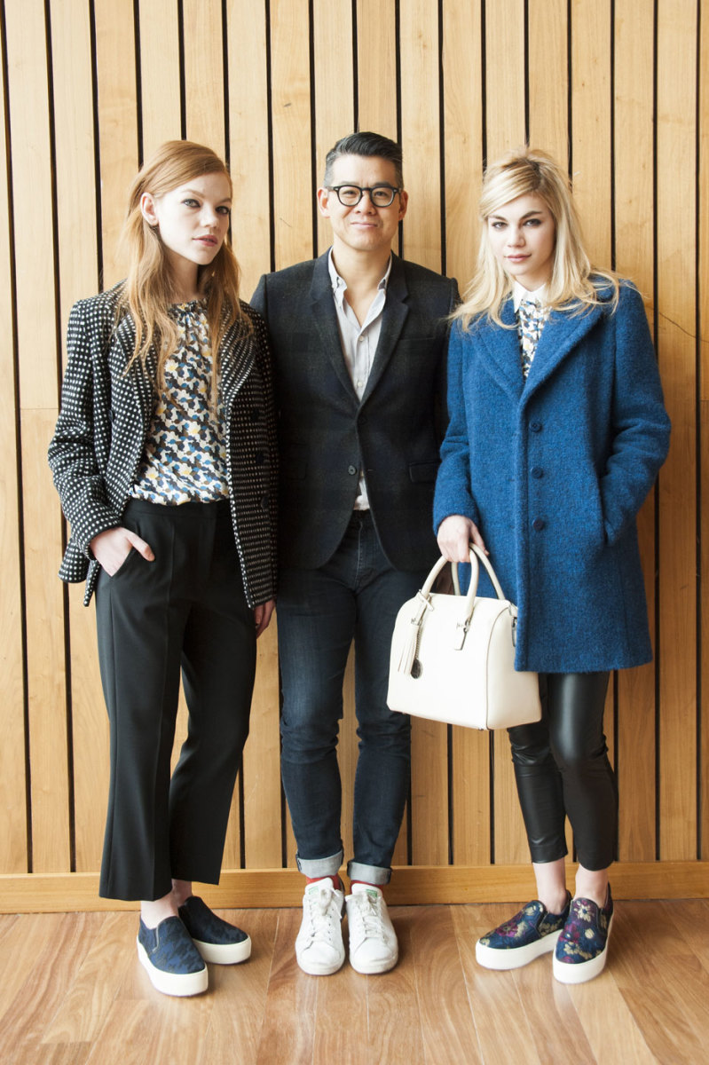 Peter Som with models in looks from his fall 2015 collection for Blue Les Copains. Photo: Imaxtree