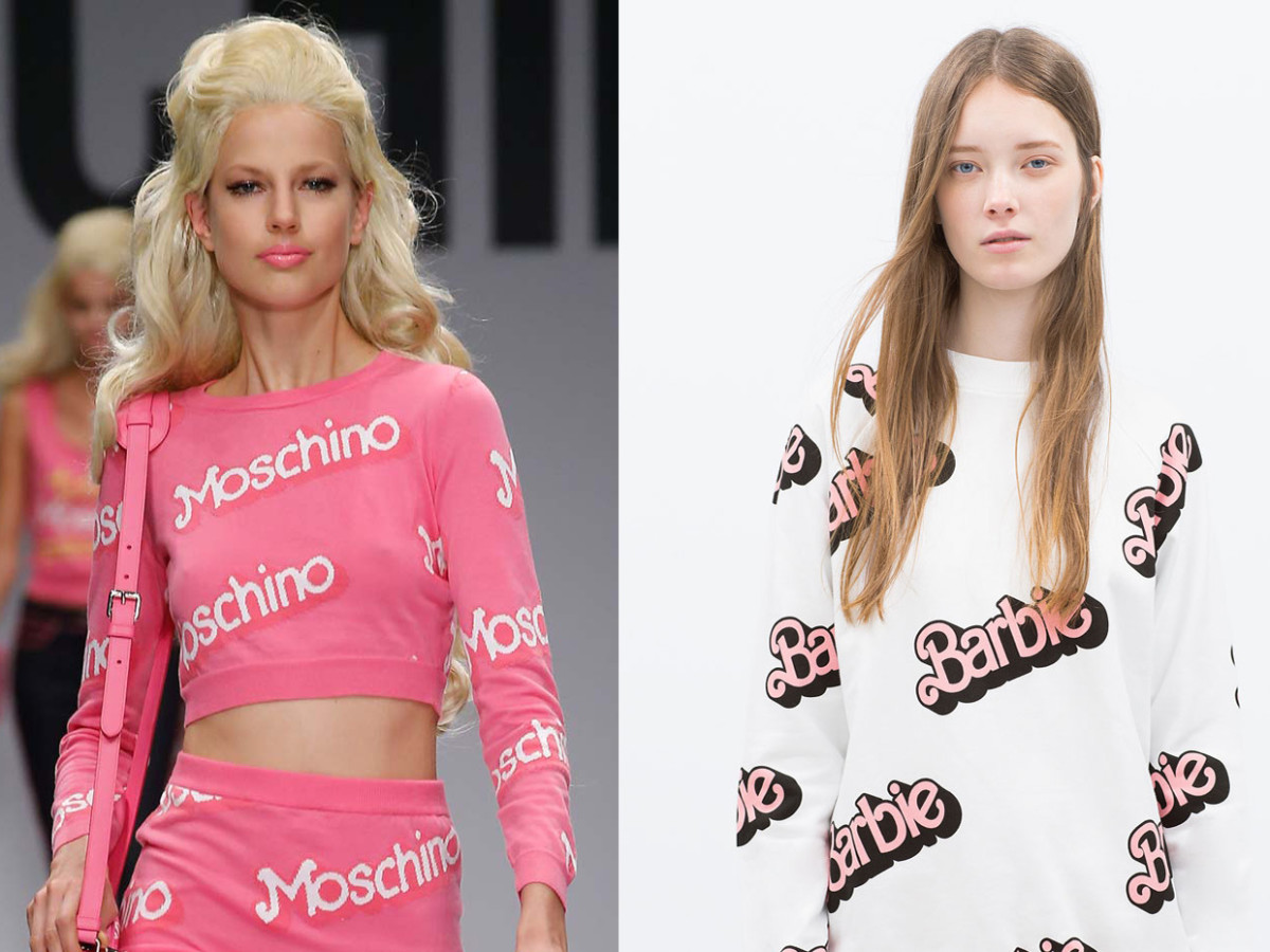 The original Moschino sweater, left. Zara's version, right. Photos: Imaxtree, Zara