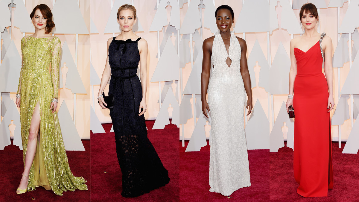 From left to right: Emma Stone, Sienna Miller, Lupita Nyong'o, Dakota Johnson. Photos: Jason Merritt/Getty Images