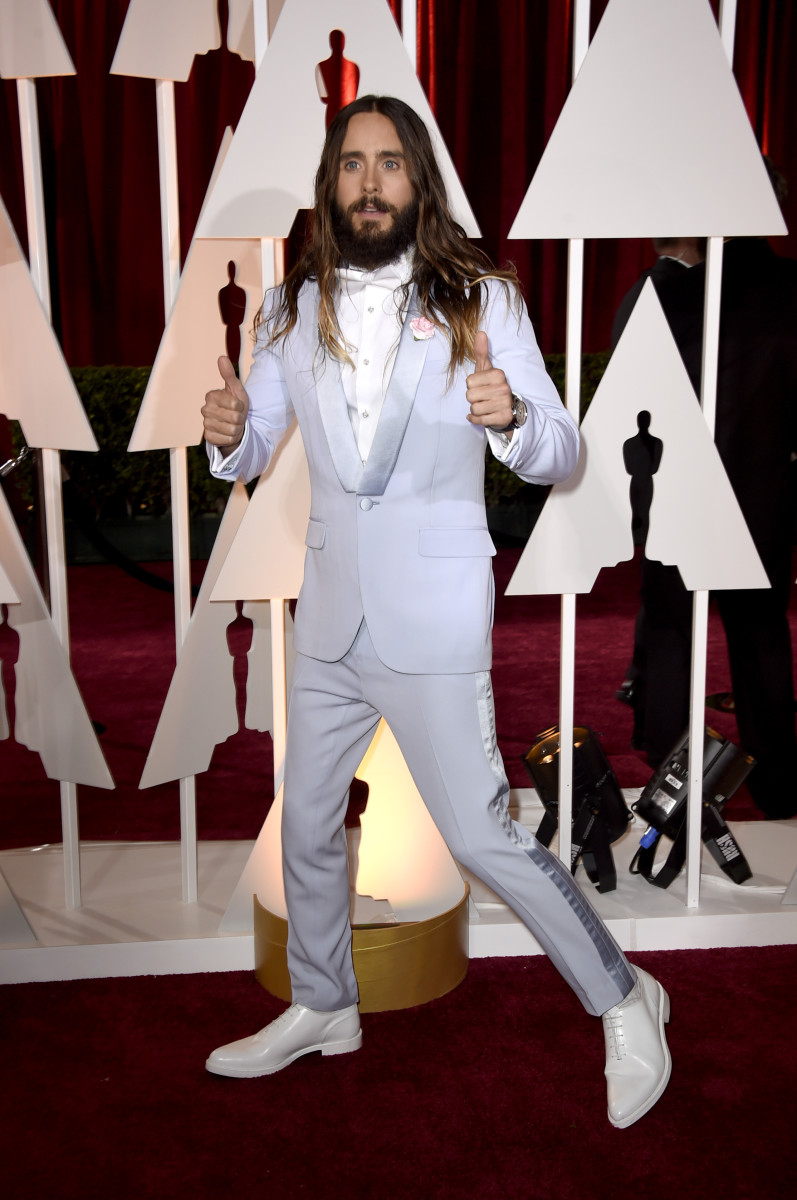 Two thumbs up for you, sir. Jared Leto at the 2015 Oscars. Photo: Frazer Harrison/Getty Images