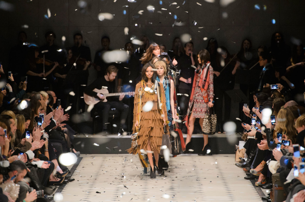 The finale of the Burberry fall 2015 runway show in London Monday. Photo: Imaxtree