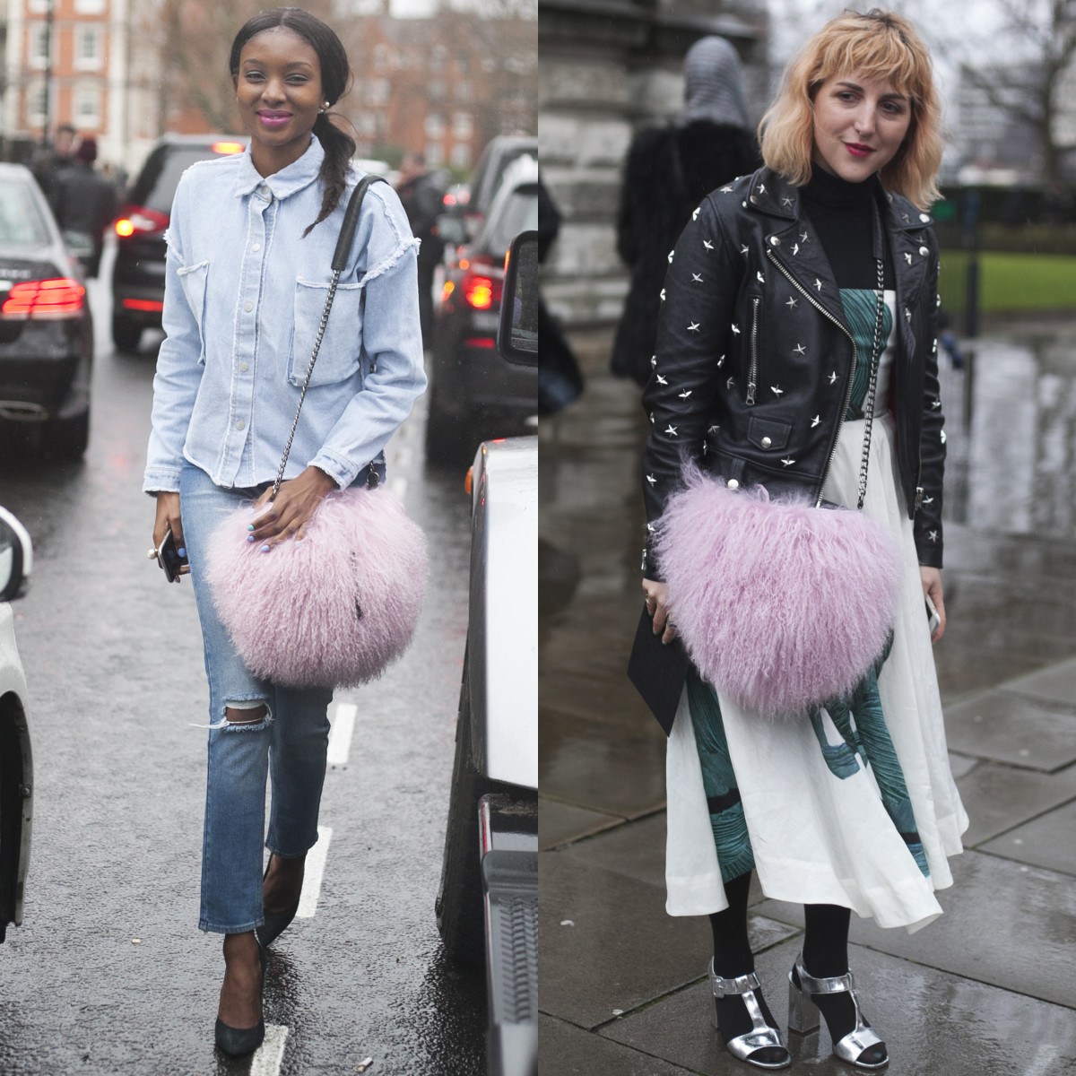 Trending: pink shearling crossbody bags. Photos: Emily Malan/Fashionista