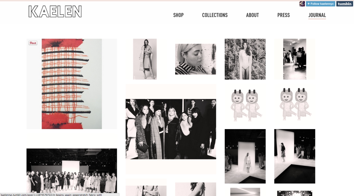 A screengrab from Kaelen's new site. Photo: Kaelen