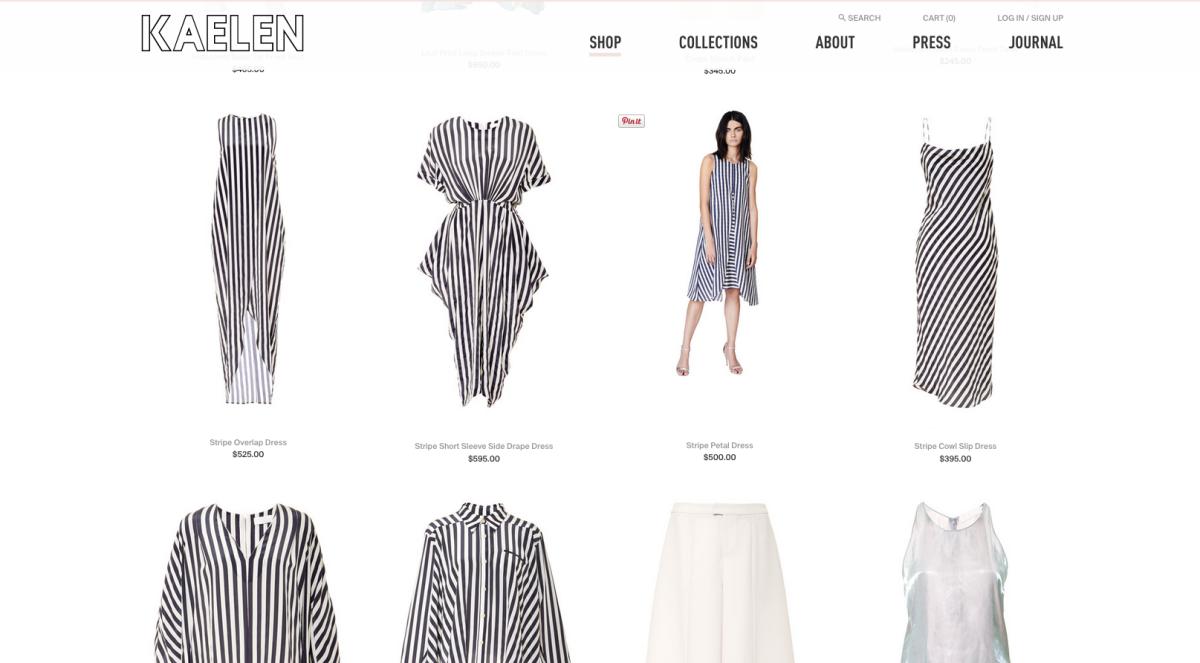 A screengrab from Kaelen's new site. Photo: Kaelen